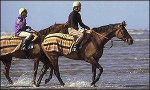 Red Rum on the beach, solving his lameness