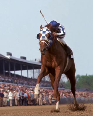 Secretariat winning the 1973 Kentucky Derby, photo Thoroughbredmemories.com